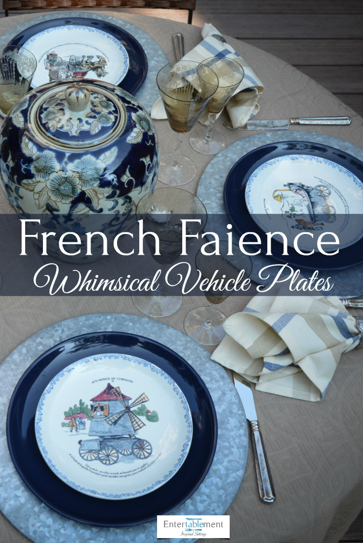 French Faience Whimsical Automobiles Entertablement