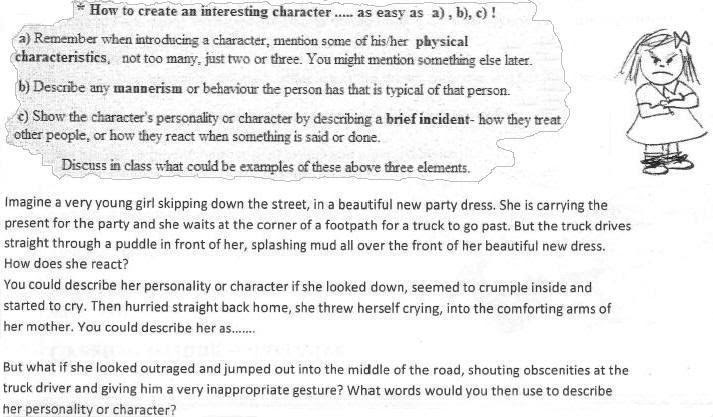 how to write a descriptive essay about a character