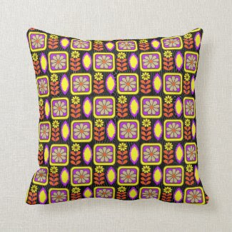 Retro Inspired Bright Colorful Floral Patterned Pillows