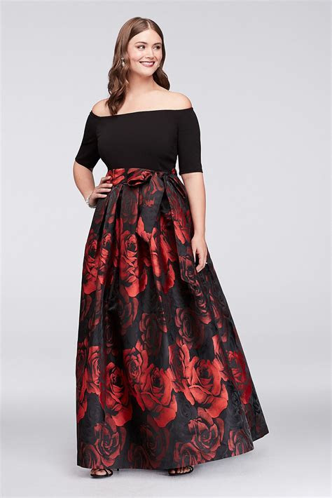 Off The Shoulder Jacquard Plus Size Short Sleeves Printed