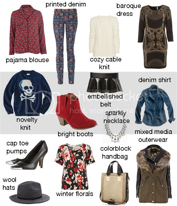 paisley pajama blouse, Current/Elliott printed jeans, Aldo Mandina boots, denim shirt, skull sweater, cap toe pumps, Zara peplum belt, Topshop Baroque dress, cable knot sweater, fall 2012 fashion trends