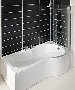 P Shaped 1700mm Shower Bath Front panel and Curved Glass ...
