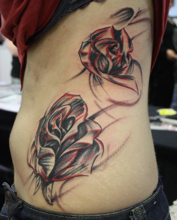 Grey Rose Tattoos On Girl Side