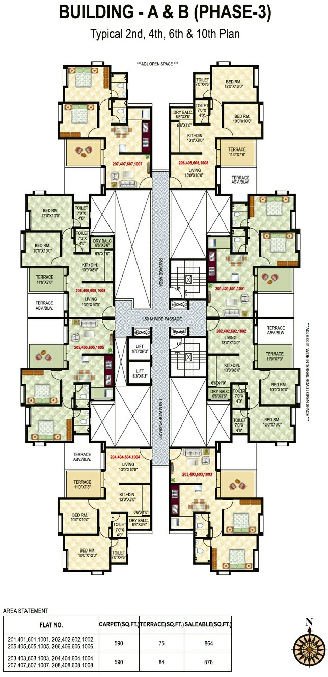 Neo City - Phase 3, 2 BHK Flats, behind Jain College Bakori Road, Wagholi, Pune 412207 - B Building - Even Floors