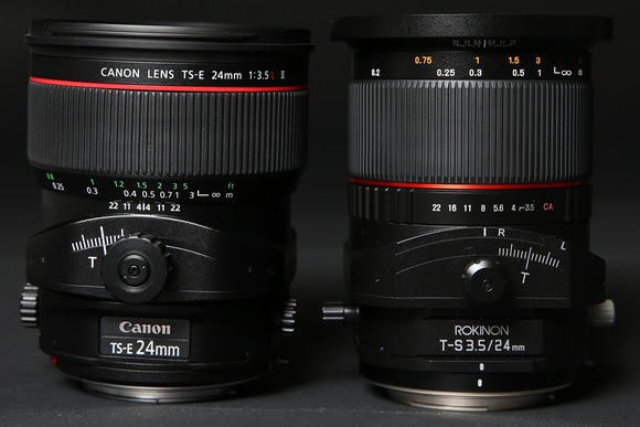 Canon (left) has an advantage of bigger knobs that lock down better
