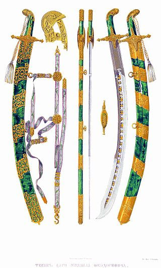 Broadsword of Tsar Michael Fyodorovich on picture, 19th century.