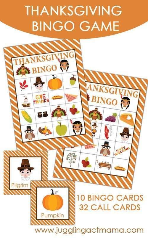 Free Printable Thanksgiving Bingo Game | Kids Thanksgiving Games ...