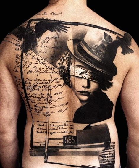 Black Ink Girl Portrait And Flying Birds Women Tattoo On Full Back