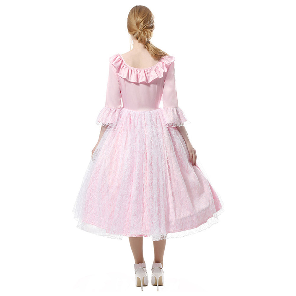 damen mittelalter kleid langarm kostüm prinzessin renaissance kleid rosa  mit krinoline