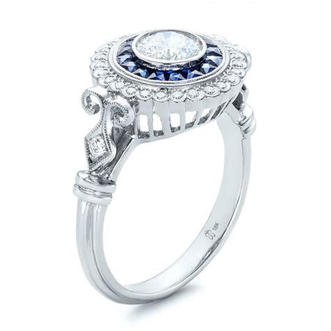 Double Halo Sapphire and Diamond Engagement Ring #101986