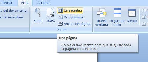 Office 2007 Vista una pagina