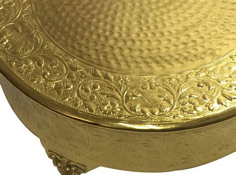 "GiftBay Wedding Cake Stand 22"" Round, Aluminum Gold Finish"