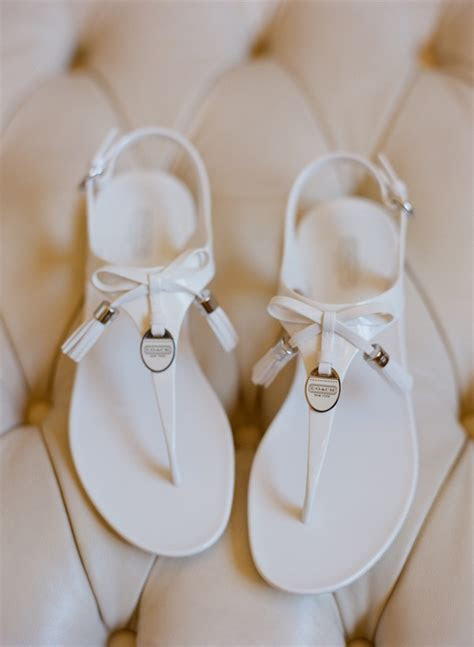 Flat White Coach Wedding Sandals   Elizabeth Anne Designs