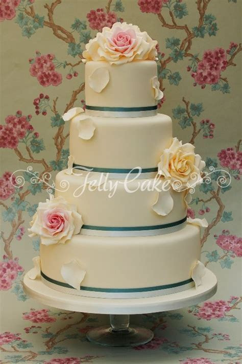 teal and vintage roses wedding cake