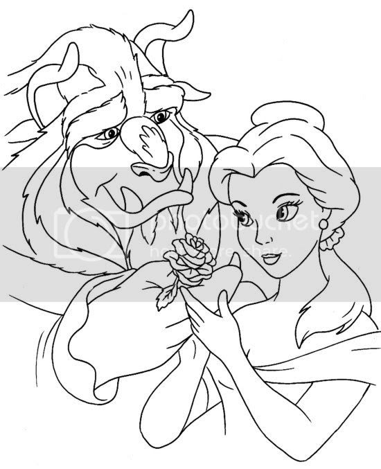 colour me beautiful beauty and the beast colouring pages
