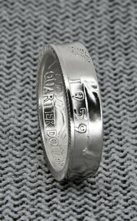 1950 1959 90% Silver Proof US Quarter Coin Ring Wedding