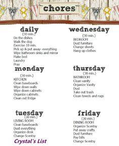Daily chore list | Printables | Pinterest | Kid, The o
