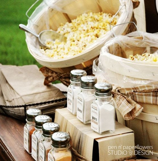Popcorn bar: display plain popcorn and several spices and let guests do their own seasoning