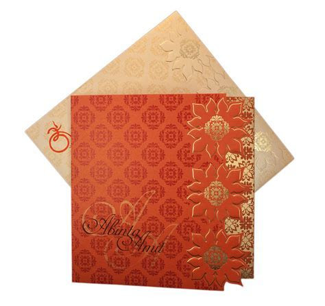 Designer Indian Wedding Card in Orange with Flower Pattern