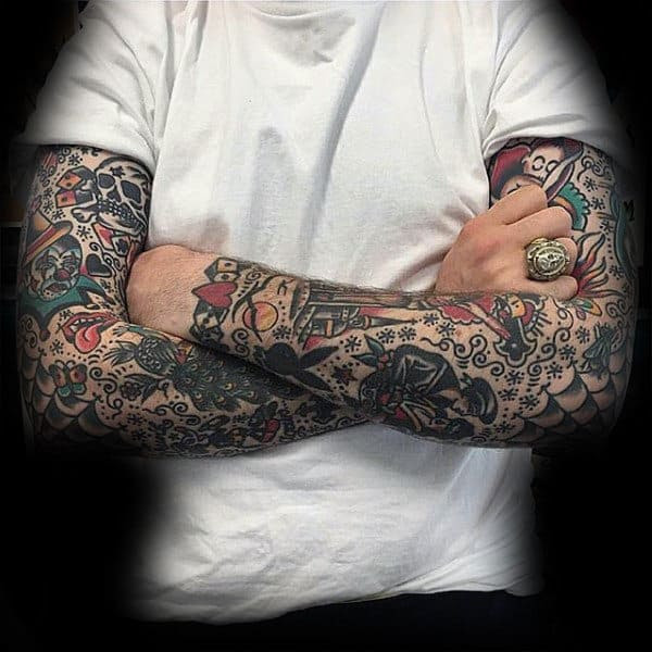 60 Traditional Tattoo Sleeve Designs For Men Old School Ideas