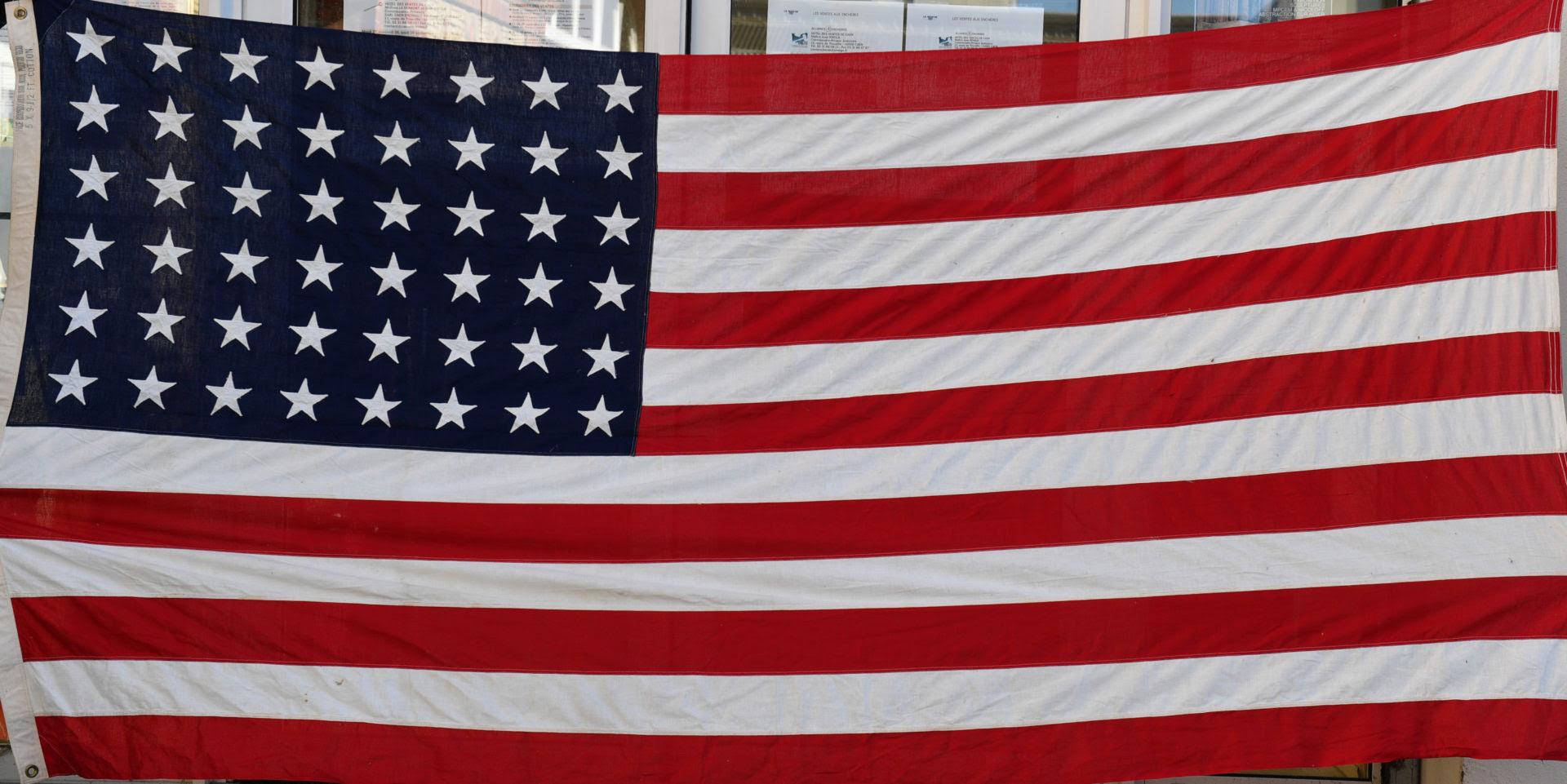 Drapeau Américain 48 étoiles En Tissu Coton Blancrougebleu