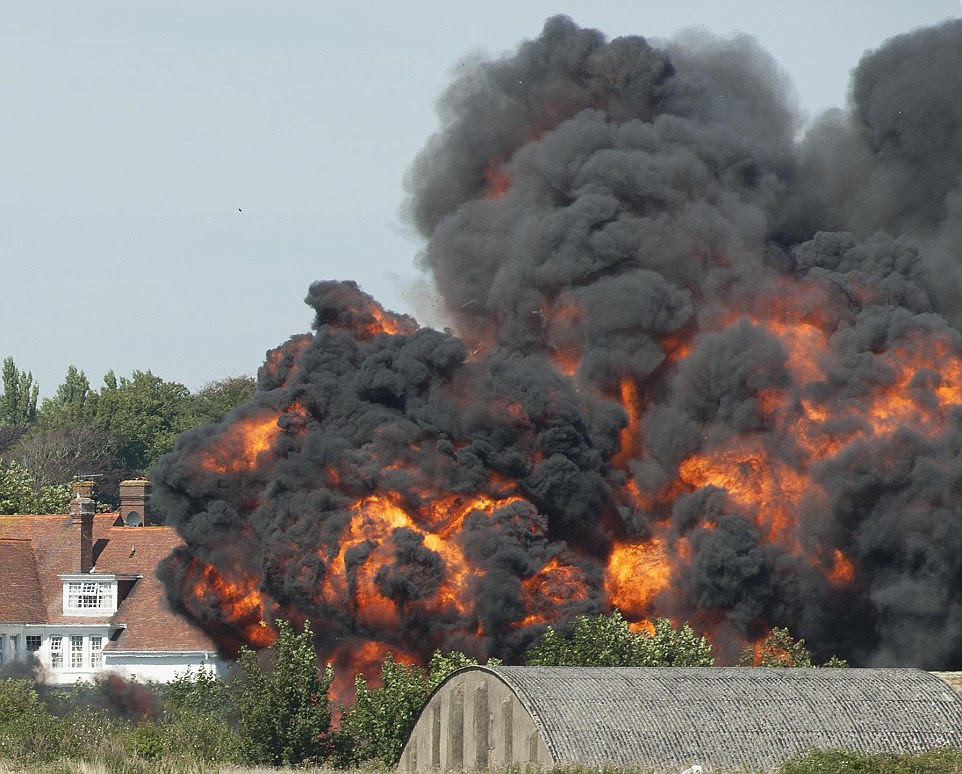 Tragedy: The plane crashed in a fiery explosion on the nearby A27, which runs alongside the airfield