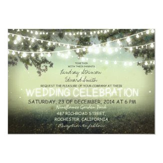 string of lights rustic wedding invitation