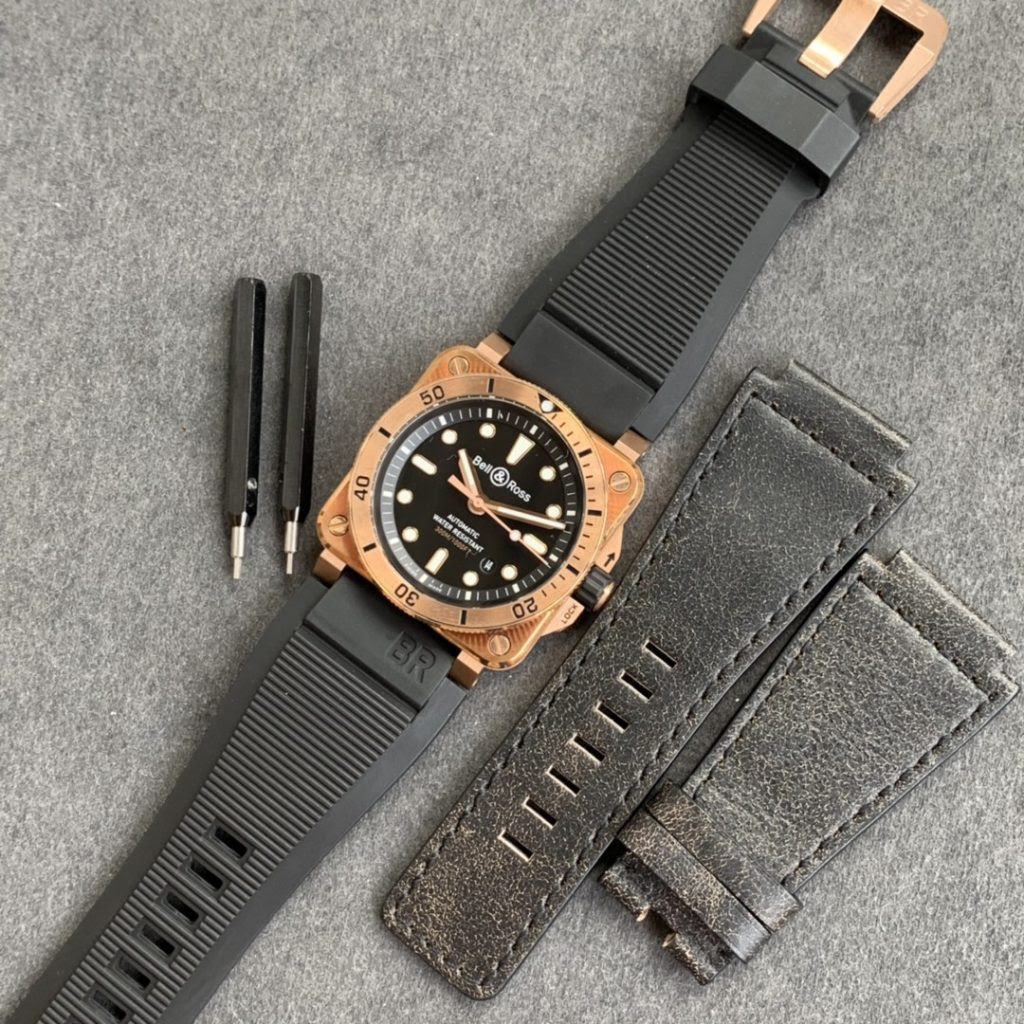 Bell Ross BR03-92 Diver with Black Leather Straps