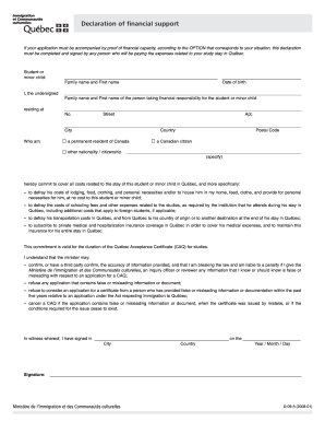 Declaration Of Financial Support Quebec Fill Online