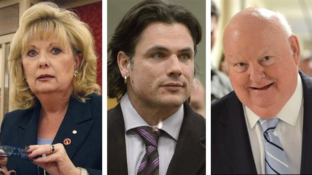 Les trois sénateurs suspendus sans salaire: Pamela Wallin, Patrick Brazeau et Mike Duffy