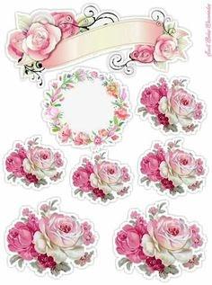 Topo De Bolo Flores Rosas Para Imprimir