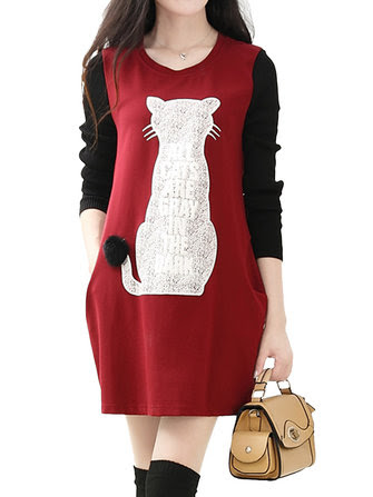 Hooded Leopard Printed Patchwork Long Sleeve Bodycon Dresses