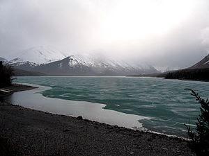 Kenai Lake, partly frozen, April 2007