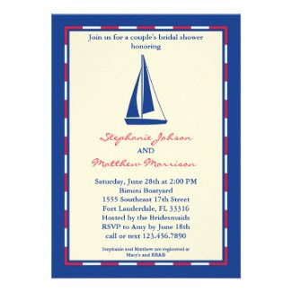 Sail Boat Couple's Bridal Shower Invitation