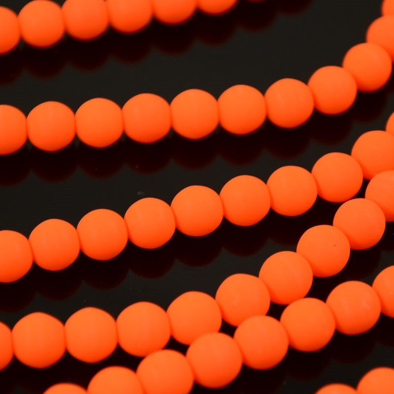 s36695 Glass Beads - 6 mm Round - Neon Orange (strand)