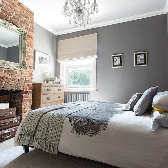Grey bedroom with exposed brick wall | Decorating ...