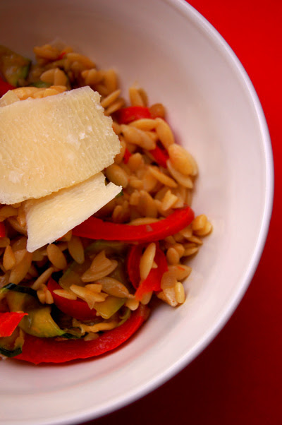 Orzo with Chicken, Capsicum and Zucchini