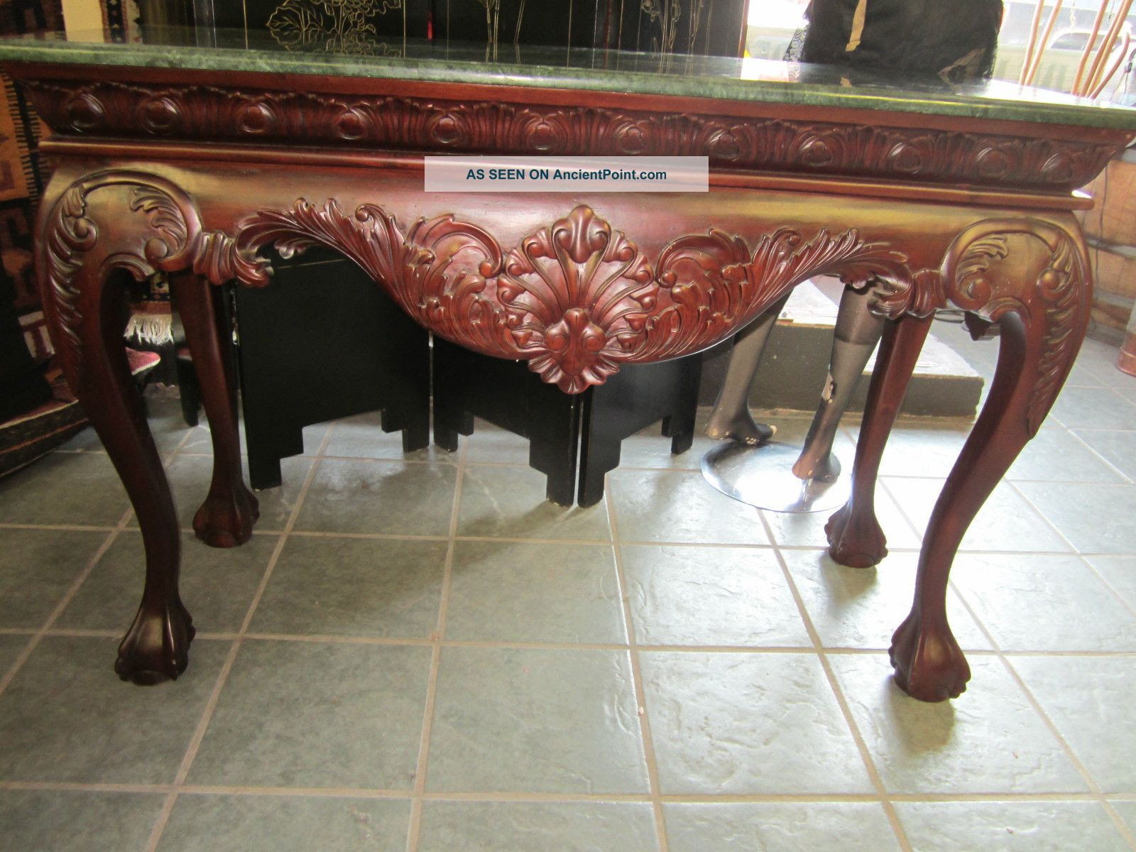 Antique Dark Mahogany And Green Marble Foyer Console Hallway Couch ...
