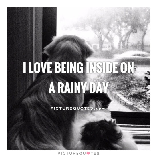 I Love Being Inside On A Rainy Day Picture Quotes