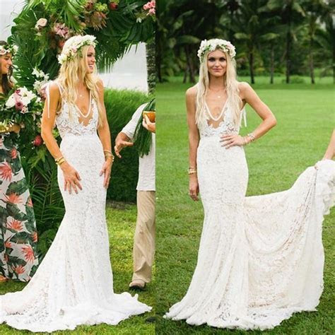 Boho Wedding Dresses V neck Lace Mermaid Simple Country