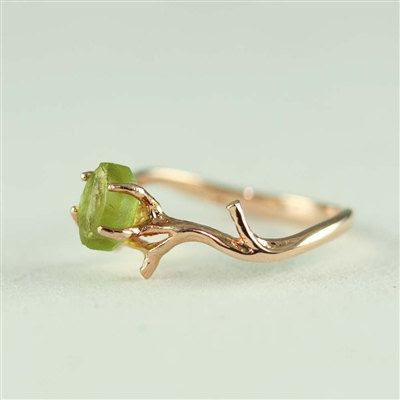 Unique Branch and Natural Peridot Ring- August Birthstone via Etsy