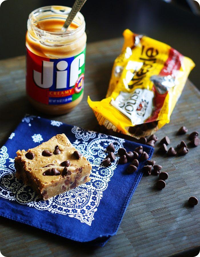 Peanut Butter Swirl Chocolate Chip Blondies ::: bake at 350 blog