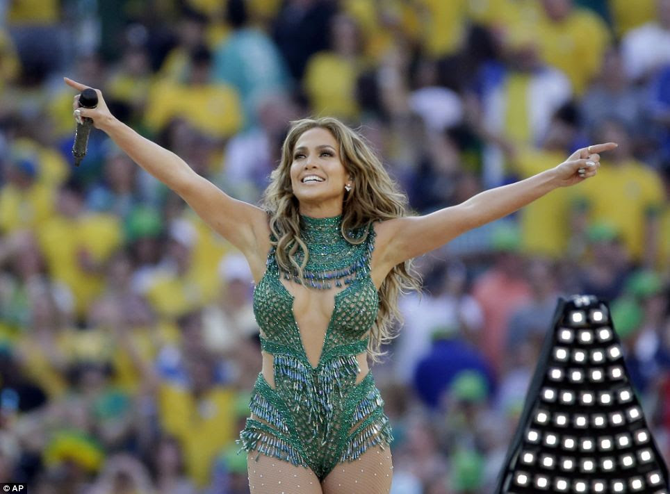Superstar Jennifer Lopez sizzled in a sparkly green number as she performed to thousands of people at the official World Cup opening ceremony