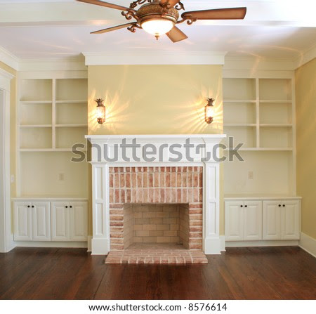 Great Room With Fireplace And Sconce Lights Stock Photo 8576614 ...