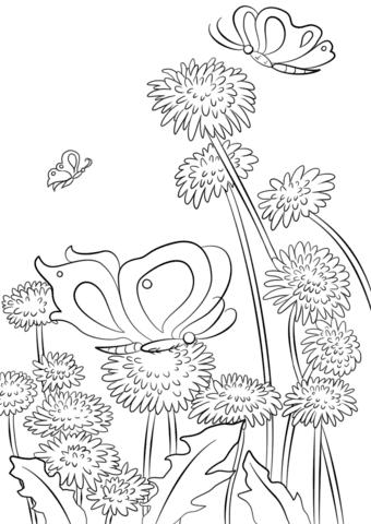 Dibujo De Mariposas Y Flores Para Colorear Dibujos Para Colorear