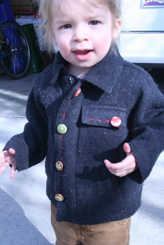 refashioned winter coat with custom buttons