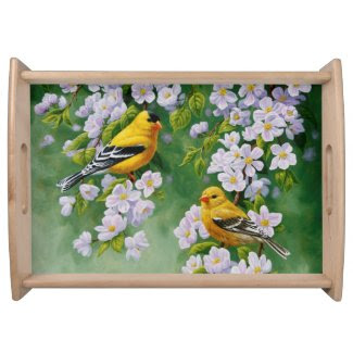 Goldfinch and Blossoms Serving Trays