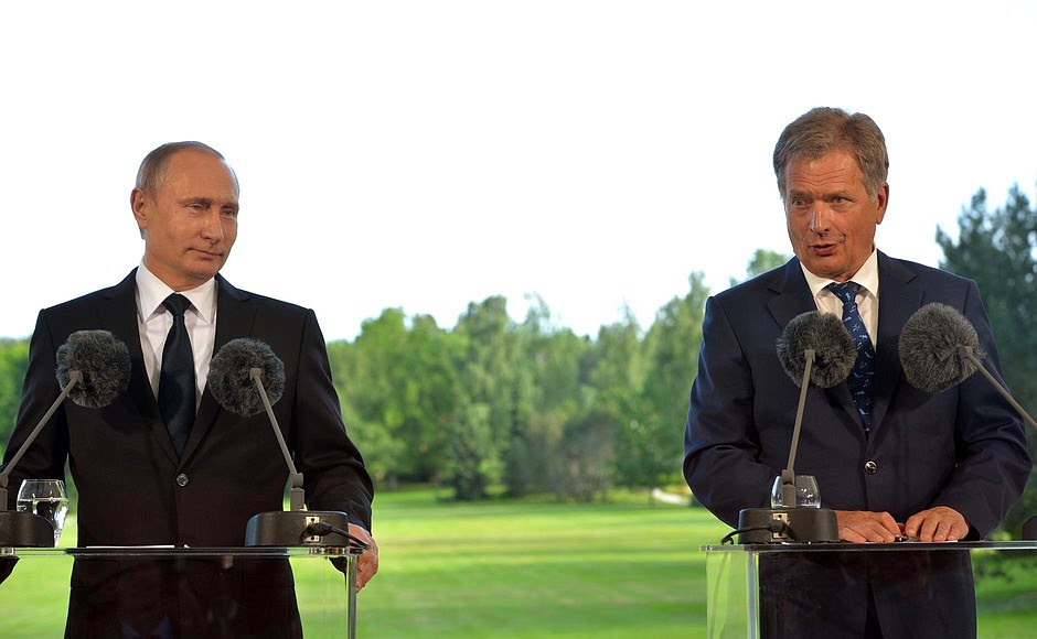 AtPress Conference following Russian-Finnish talks. With President ofFinland Sauli Niinistö.