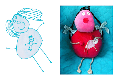 child's drawing and doll made from it