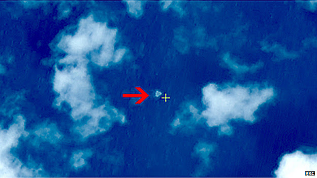 Satellite photos released by China, which it claims shows the wreck of flight MH370